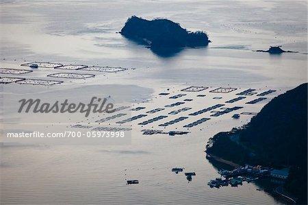 View of World's First Commercial Tuna Fish Farm from Kochiyama Observatory, Amami Oshima, Amami Islands, Kagoshima Prefecture, Japan