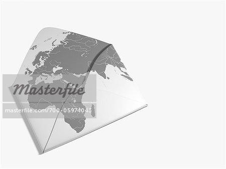 World Map Illustration on Envelope