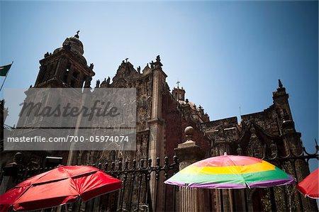 Sun Umbrellas in front of Metropolitan Cathedral, Plaza de la Constitucion, Mexico City, Mexico