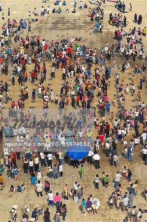 Crowd of People in Fountain, Plaza de la Republica, Distrito Federal, Mexico City, Mexico