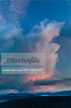 Clouds at sunset from Reginald Hill, Salt Spring Island, British Columbia, Canada