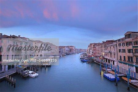 View of Grand Canal from Ponte di Rialto at Dawn, Venice, Veneto, Italy