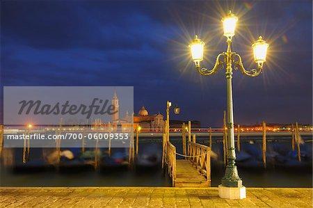 Gondolas and Grand Canal at Night, Venice, Veneto, Italy