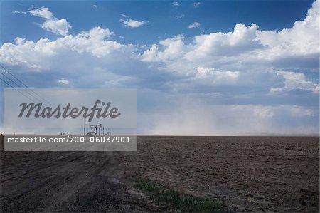 Oil Pump in Barren Field