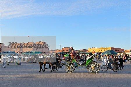 Horse-Drawn Cart, Jemaa el-Fnaa Market Square, Marrakech, Morocco