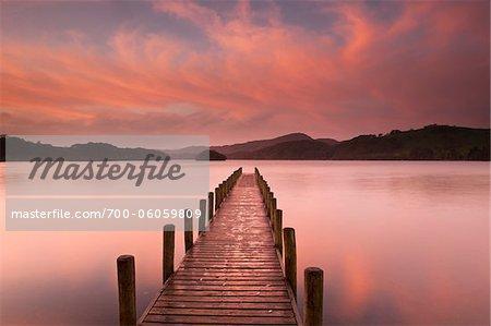 Dock on Lake at Dawn, Derwentwater, Lake District, Cumbria, England