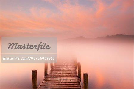 Dock in Mist at Dawn, Derwentwater, Lake District, Cumbria, England