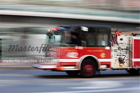 Speeding Fire Truck, Chicago Fire Department, Chicago, Illinois, USA