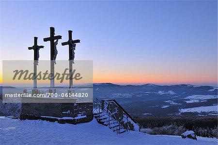 Crosses on the Top of Kreuzberg at Dusk, Rhoen Mountains, Bavaria, Germany
