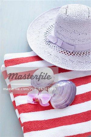 Seashells, Sunhat, and Striped Towel