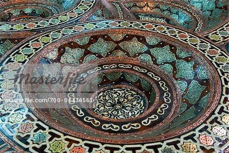 Mother of Pearl Table Top in Souvenir shop, Medina, Tetouan, Morocco