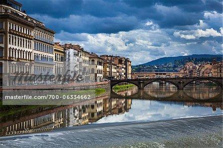 Buildings Alongside Arno River, Florence, Tuscany, Italy
