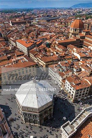 Aerial view of Baptistry of Basilica di Santa Maria del Fiore, Florence, Tuscany, Italy