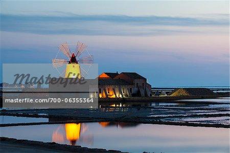 Windmill at Dusk at Salt Pans, Trapani, Sicily, Italy