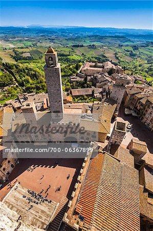 Aerial View of San Gimignano, Siena Province, Tuscany, Italy