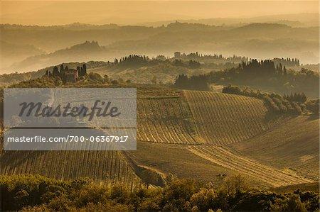 Farmland, San Gimignano, Siena Province, Tuscany, Italy