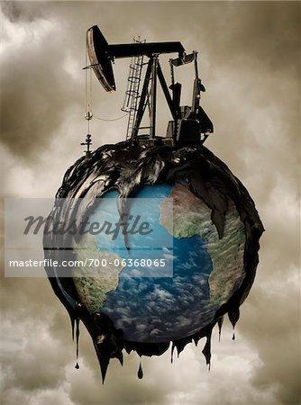 Oil Pump Spilling Oil over Globe