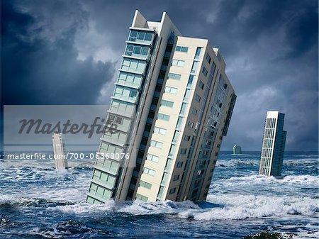 Highrise Buildings Floating in Ocean