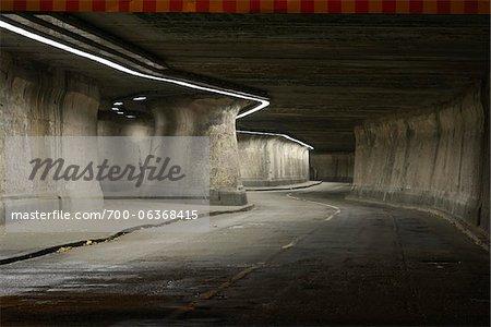 Matena Tunnel at Night, Duisburg, Ruhr Basin, North Rhine-Westphalia, Germany,