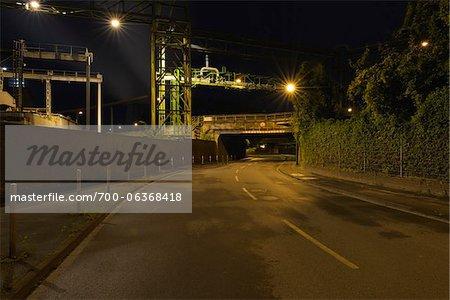 Matena Sreet at Night, Duisburg, Ruhr Basin, North Rhine-Westphalia, Germany