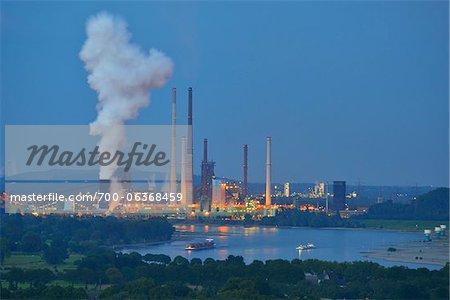Steel Mill and Rhine River, Duisburg, Ruhr Basin, North Rhine-Westphalia, Germany