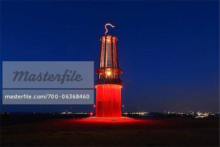 Mining Lamp Illuminated at Night, Halde Rheinpreussen, Moers, North Rhine-Westphalia, Germany