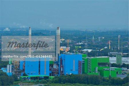 View from Halde Hoheward , Power Plant, Recklinghausen, Ruhr Basin, North Rhine-Westphalia, Germany