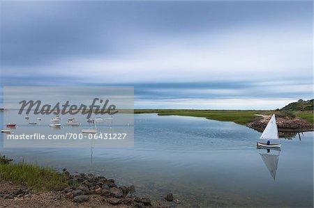Small Marina with Small Boats and Overcast Sky, Pamet Harbor, Truro, Cape Cod, Massachusetts, USA