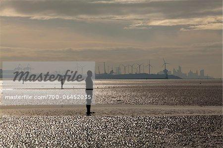Another Place by Antony Gormley at Crosby Beach, near Liverpool, Merseyside, England