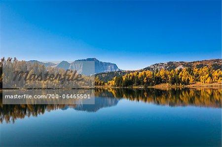 Larix Lake and Autumn Larch, Rock Isle Trail, Sunshine Meadows, Mount Assiniboine Provincial Park, British Columbia, Canada