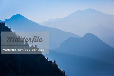 Overview of Hazy Blue Mountain Range, Rock Isle Trail, Sunshine Meadows, Mount Assiniboine Provincial Park, British Columbia, Canada