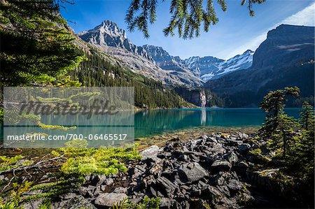 Rocky Shoreline and Mountain Vista at Lake O'Hara, Yoho National Park, British Columbia, Canada