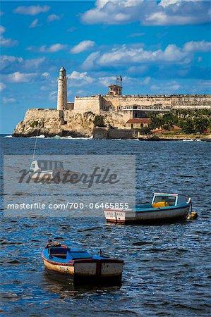 Fishing Boats in Bay in front of Morro Castle, Havana, Cuba