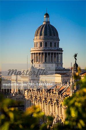 Elevated View of El Capitolio, Old Havana, Havana, Cuba