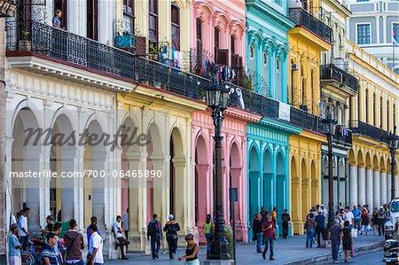 Street Scene with Pastel Colored Buildings, Havana, Cuba