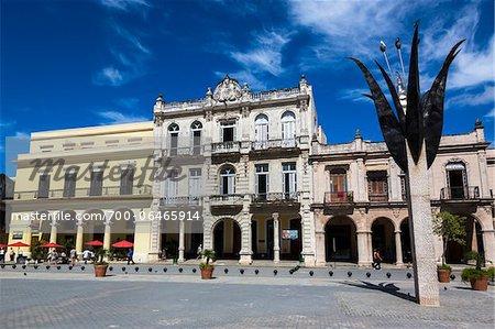 Angela Landa Primary School (center) and other Buildings and Sculpture in Plaza Vieja, Havana, Cuba