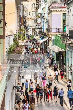 Overview of Shoppers along Obispo Street, Havana, Cuba