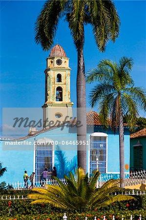 Bell Tower of Museo de la Lucha Contra Bandidos above Blue House, Trinidad, Cuba