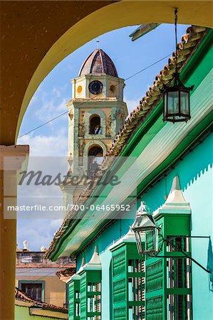 View of Bell Tower of Museo de la Lucha Contra Bandidos from Archway, Trinidad, Cuba