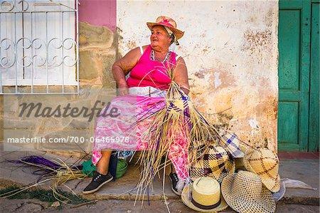 Woman Weaving Straw Hats, Trinidad, Cuba