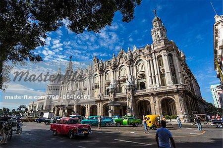 Classic Cars and Traffic in front of Great Theatre of Havana (Gran Teatro de La Habana), Havana, Cuba
