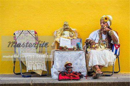 Senora Habana, a fortune teller in Plaza de la Catedral, Havana, Cuba