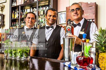 Bartenders in the Bistro a Golfo of the Hotel Nacional, Havana, Cuba