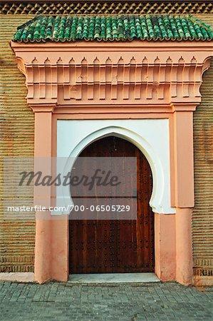 Door, Madersa Ben Youssef, Medina, Marrakesh, Morocco, Africa
