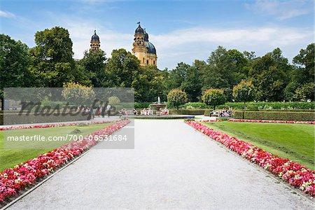 People in Formal Garden at Munich Residenz, Munich, Oberbayern, Bavaria, Germany
