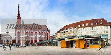 St Mary Chapel and the Market Square, Wuerzburg, Lower Franconia, Bavaria, Germany