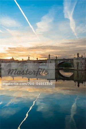 Old Stone Arch Bridge over the Main River at Dusk, Wuerzburg, Lower Franconia, Bavaria, Germany
