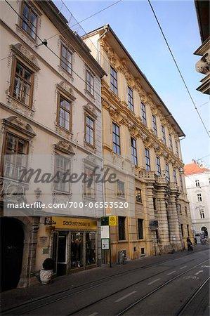View of Shops Along Sackstrasse, Graz, Styria, Austria