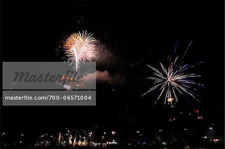 New Year's Eve Fireworks at Midnight over Schlossberg, Graz, Styria, Austria
