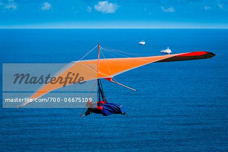 Hang glider at Stanwell Tops Lookout at Paragliders at Bald Hill Lookout, Bald Hill Headland Reserve, Illawarra, Wollongong, New South Wales, Australia